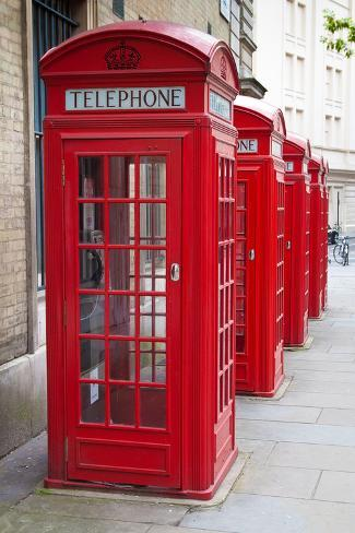 A Group of Typical Red London Phone Cabins Photographic Print