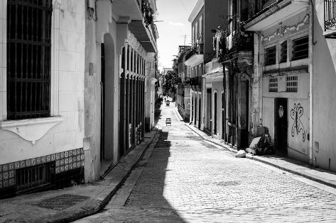 Grunge Black and White Image of a Shabby Street in Havana Photographic Print