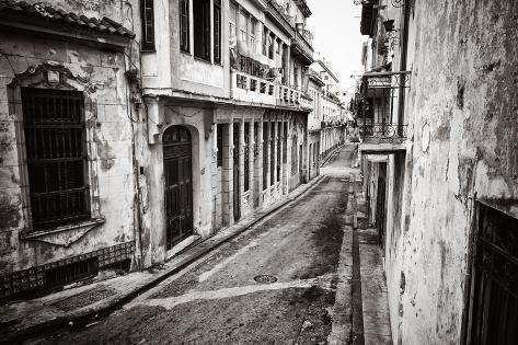Grunge Monochromatic Image of a Decaying Buildings in Old Havana Photographic Print