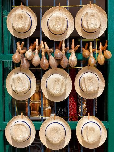 Hats, Musical Instruments,Religious Necklaces and Other Traditional Craft for Sale in Havana Photographic Print