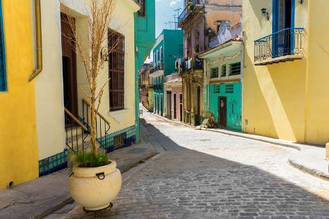 Narrow Street Sidelined by Colorful Buildings in Old Havana Photographic Print