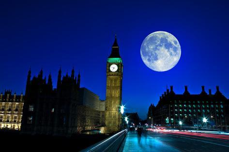 Night Scene in London Showing the Big Ben, a Full Moon and Traffic on Westminster Bridge Photographic Print