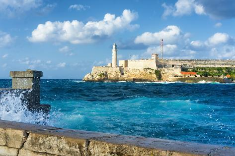 The Famous Castle of El Morro in Havana with a Stormy Weather and Big Waves in the Ocean Photographic Print