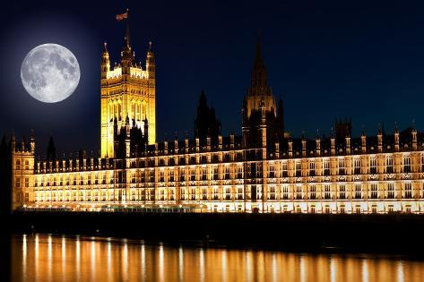 The Houses of Parliament at Night with a Bright Full Moon Photographic Print
