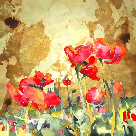Original Watercolor Poppy Flower in Gold Background Stampa artistica