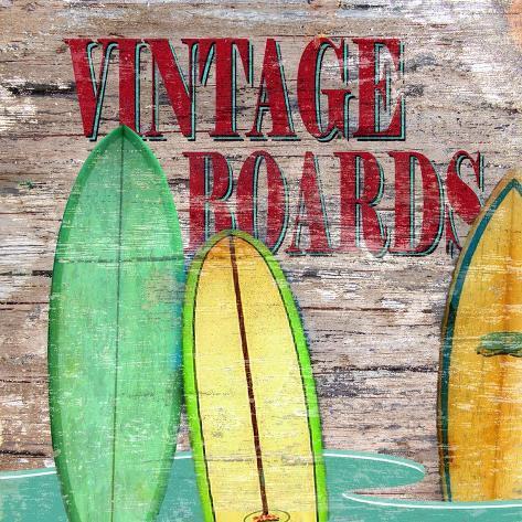 Vintage Surf Boards Stretched Canvas Print