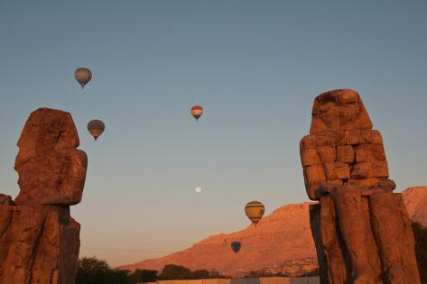 Hot Air Balloons Above the Colossi of Memnon in the Valley of the Kings Near Luxor Photographic Print