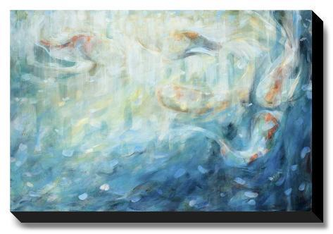 Playing koi stretched canvas print by karen lorena parker for Playing koi