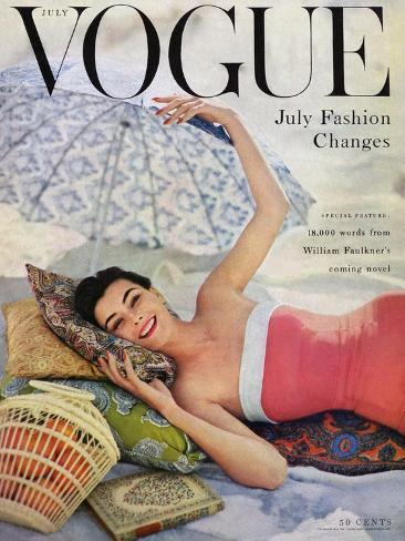 Vogue Cover - July 1954 - Beach Babe Exklusivt gicléetryck