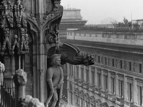 Sculpture Detail on Exterior of Il Duomo Photographic Print