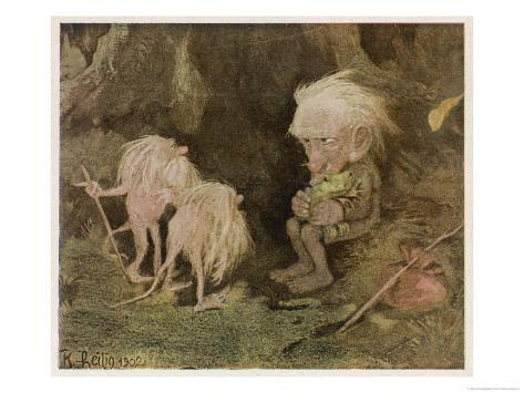 Troll with His Pet Frog Meets Two Long-Tailed Creatures Giclee Print