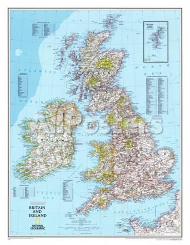 karta irland storbritannien Karta över Storbritannien och Irland, engelska   Poster på  karta irland storbritannien