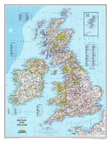 karta irland storbritannien Karta över Storbritannien och Irland, engelska   Print på trä på  karta irland storbritannien