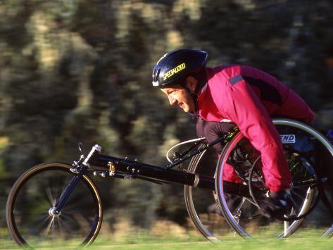 Man Training on His Wheelchair Bike Photographic Print
