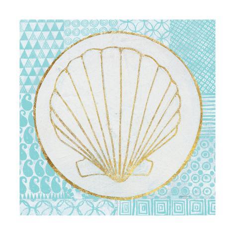 Summer Shells II Teal and Gold Premium Giclee Print