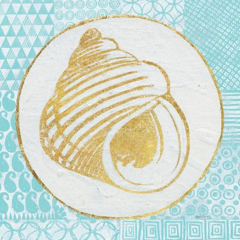 Summer Shells III Teal and Gold Premium Giclee Print