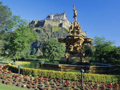 The Castle from Princes Street Gardens, Edinburgh, Lothian, Scotland ...
