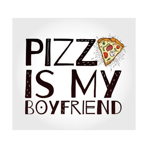 Funny Pizza Poster Doodle Style. Vector. Taidevedos