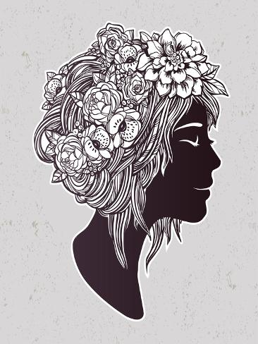 Hand Drawn Beautiful Artwork of a Girl Head with Decorative Hair and Romantic Flowers on Her Head. Art Print