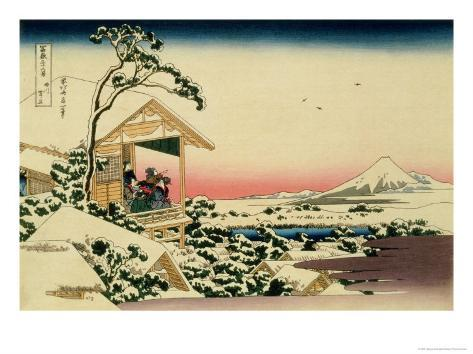 36 Views of Mount Fuji, no. 24: Tea House at Koishikawa (The Morning after a Snowfall) Giclee Print