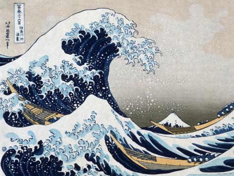 A Grande Onda em Kanagawa, da série 36 vistas do Mount Fuji, cerca de 1829 Impressão artística