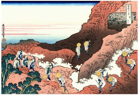 Katsushika Hokusai Climbing up a Mountain Art Poster Print Poster