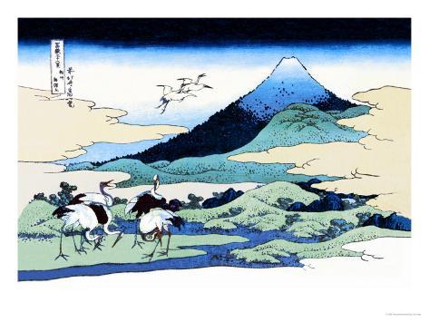 Cranes Nearby Mount Fuji Art Print