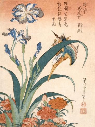 Kingfisher, Irises and Pinks (Colour Woodblock Print) Giclee Print