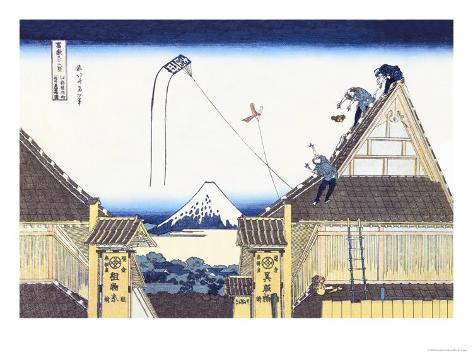 Kite Flying from Rooftop Art Print