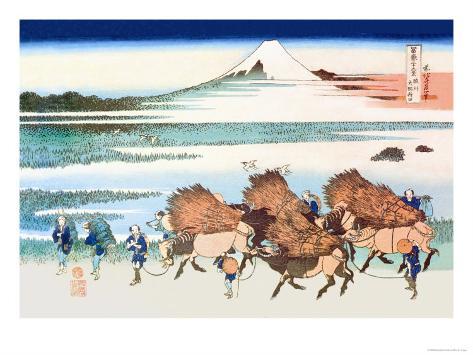 Merchants Travel to Market in View of Mount Fuji Art Print