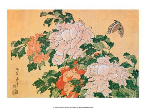 Peonies and Butterfly Impressão artística