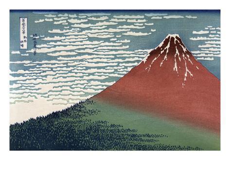 Red Fuji or South Wind, Clear Sky Impressão artística