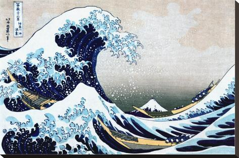 The Great Wave at Kanagawa (from 36 views of Mount Fuji), c.1829 Stretched Canvas Print
