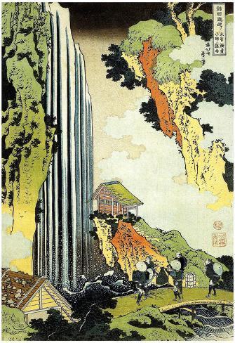 Katsushika Hokusai Waterfall in Village Art Poster Print Poster