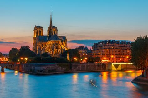 Cathedral of Notre Dame De Paris at Sunset Photographic Print