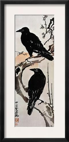 Japanese Print: Crow Framed Giclee Print