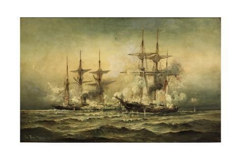 Kearsarge and Alabama Off Cherbourg Harbor, France, June 19Th, 1864 by Christian Poulsen Stretched Canvas Print