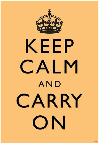 Keep Calm and Carry On (Motivational, Beige) Art Poster Print Poster