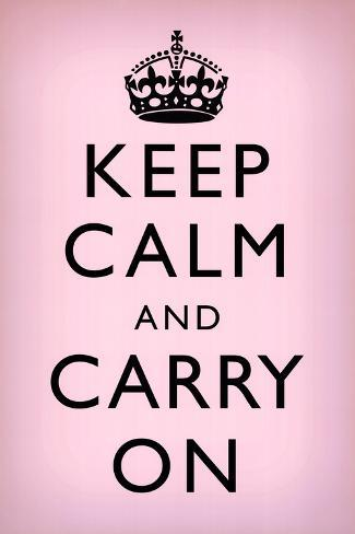 オールポスターズの keep calm and carry on motivational light pink