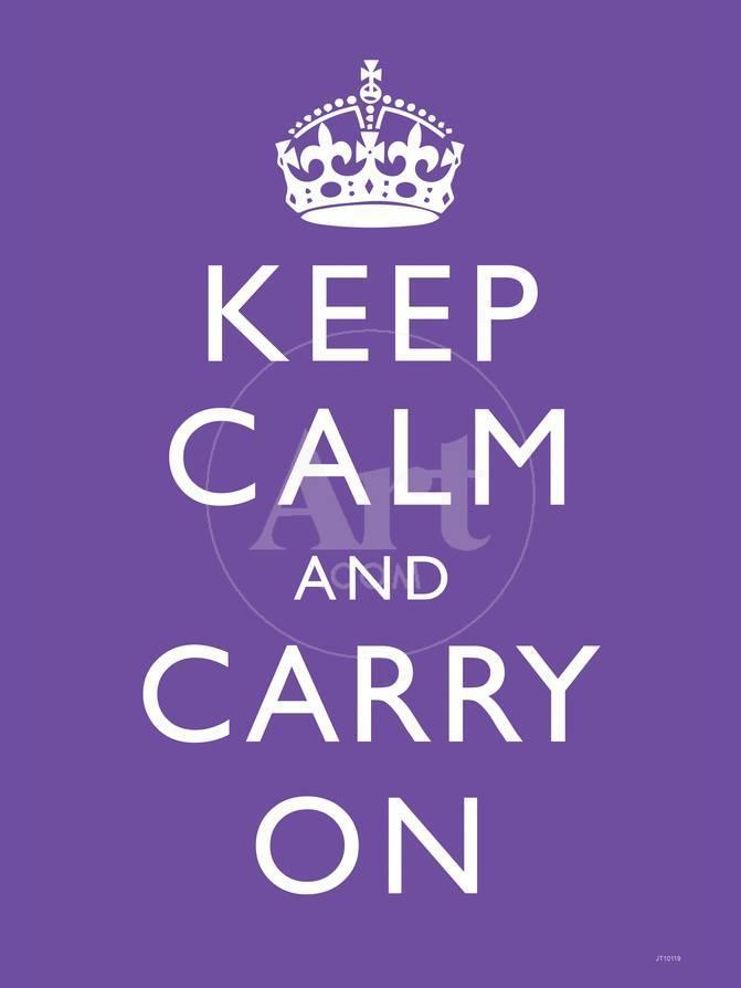 keep calm and carry on motivational purple art poster print
