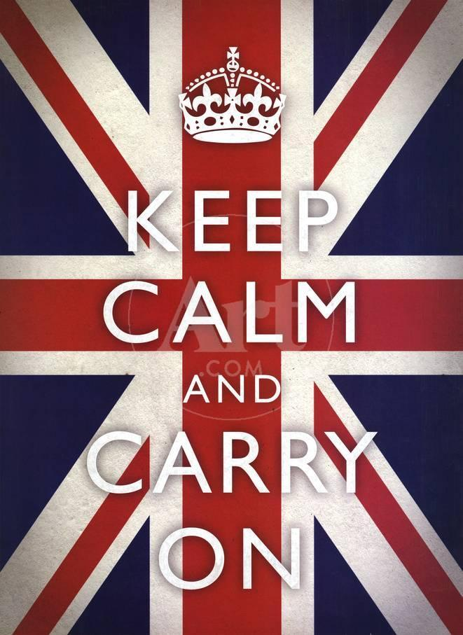 Keep Calm and Carry On Motivational Union Jack Flag Art Poster