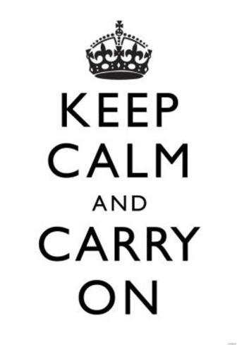 Keep Calm and Carry On (Motivational, White) Art Poster Print Masterprint