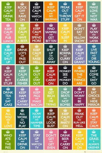 Keep Calm And Carry On Sammlung Poster