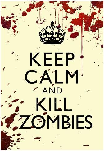 Keep Calm and Kill Zombies Humor Print Poster Poster