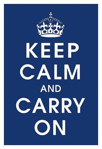 Keep Calm (navy) Art Print