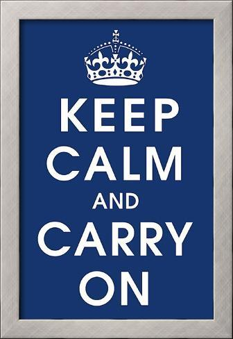 Keep Calm (navy) Framed Art Print