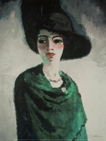 La Femme au Chapeau Noir Art Print