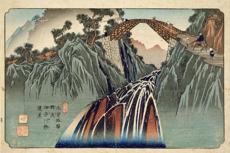 Inagawa Bridge at Nojiri (Nojiri Inagawa Bashi Enkei) Pub. by Hoeido and Kinjudo, Late 1830's Giclee Print