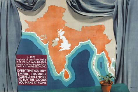 India and the British Isles Drawn to the Same Scale Giclee Print