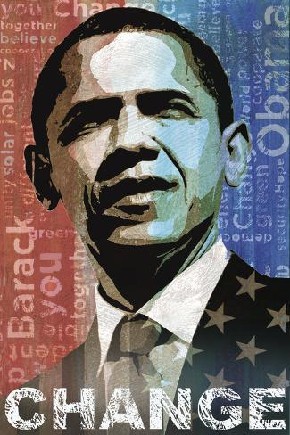 Obama: Change Stretched Canvas Print